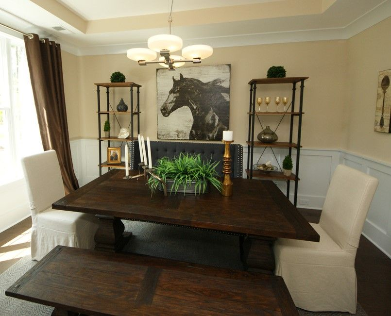 Formal dining room with bench instead of chairs! Love that idea #DRHorton #SouthCarolina