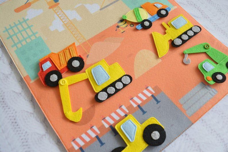 Photo of Juguete silencioso niño Actividad del bebé Tarjeta de bebé ocupado juguete juego de juego de esterilla imán juguete Vehículos tipos de transporte En construcción Gran tamaño