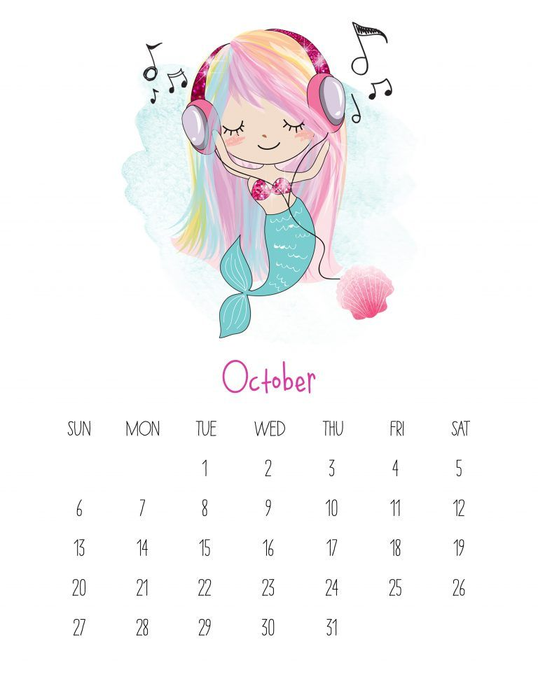 Free Printable 2019 Kawaii Mermaid Calendar The Cottage Market Kids Calendar Free Printable Calendar Templates Free Printable Calendar