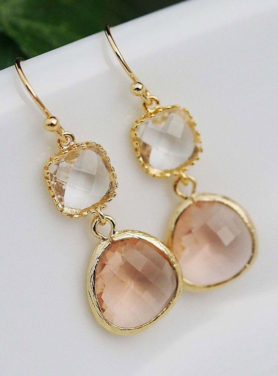 Gold Framed clear white and peach glass drop Earrings