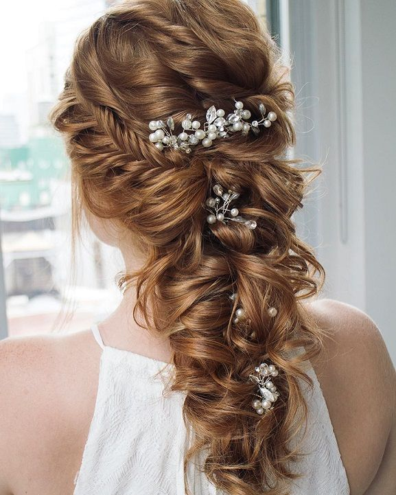 Fishtail Braid Wedding Hairstyles: Fishtail Braided With Swept Back Bridal Hairstyle