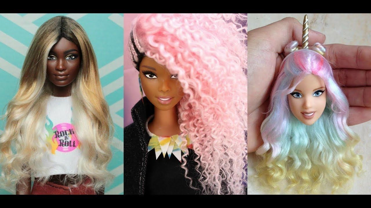 Stunning Hairstyles Transformation Of Barbie How To Curl Barbie Hair Youtube Barbie Hair Barbie Doll Hairstyles Barbie Hairstyle