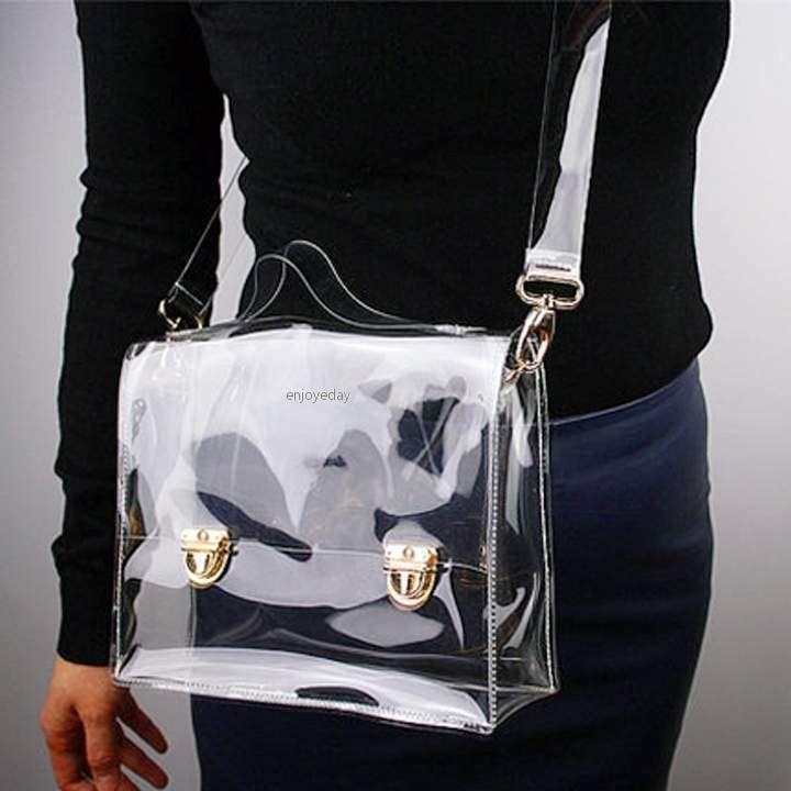 31998ba748 New Fashion PVC Transparent Bag Clear Handbag Tote Shoulder Bag Crossbody  Bag…