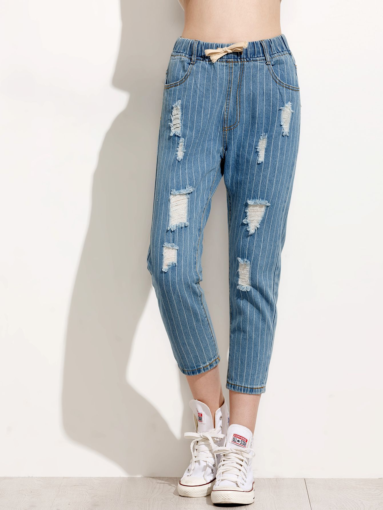 Blue Vertical Striped Ripped Drawstring Waist Jeans — 0.00 € ----color: Blue size: L,M,S,XL
