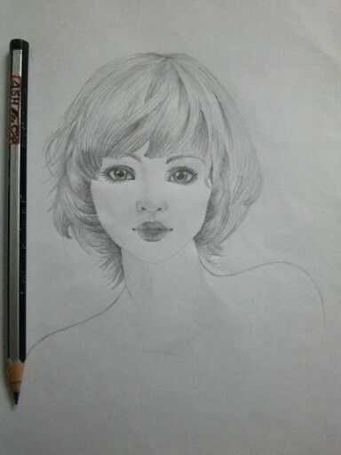 Pencil girl short hair