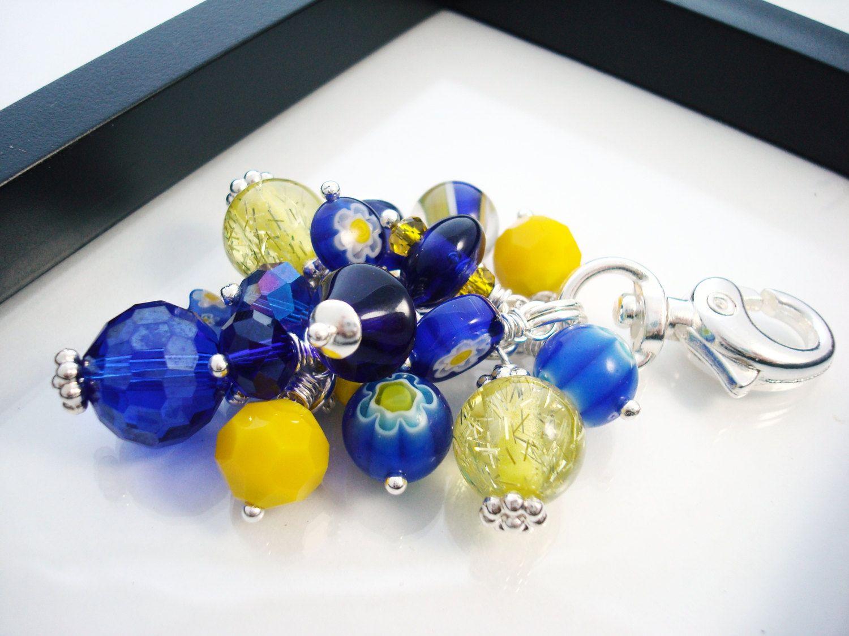 Blue and Yellow Purse Charm, Beaded Purse Charm, Cobalt Blue.