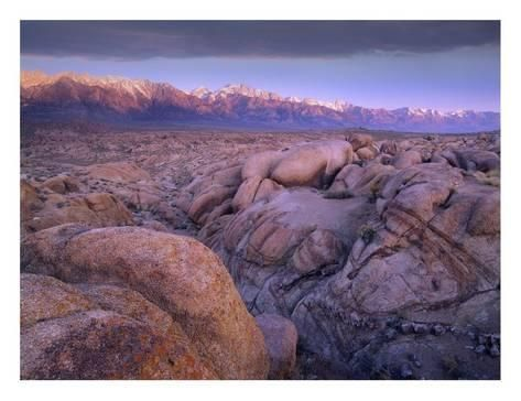 View of Sierra Nevada Range as seen from boulder field in Alabama Hills California Poster Print by Tim Fitzharris 22 x 28
