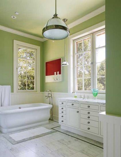 Create Enviable Interiors With Green Design Schemes Green Bathroom Traditional Bathroom Light Green Bathrooms