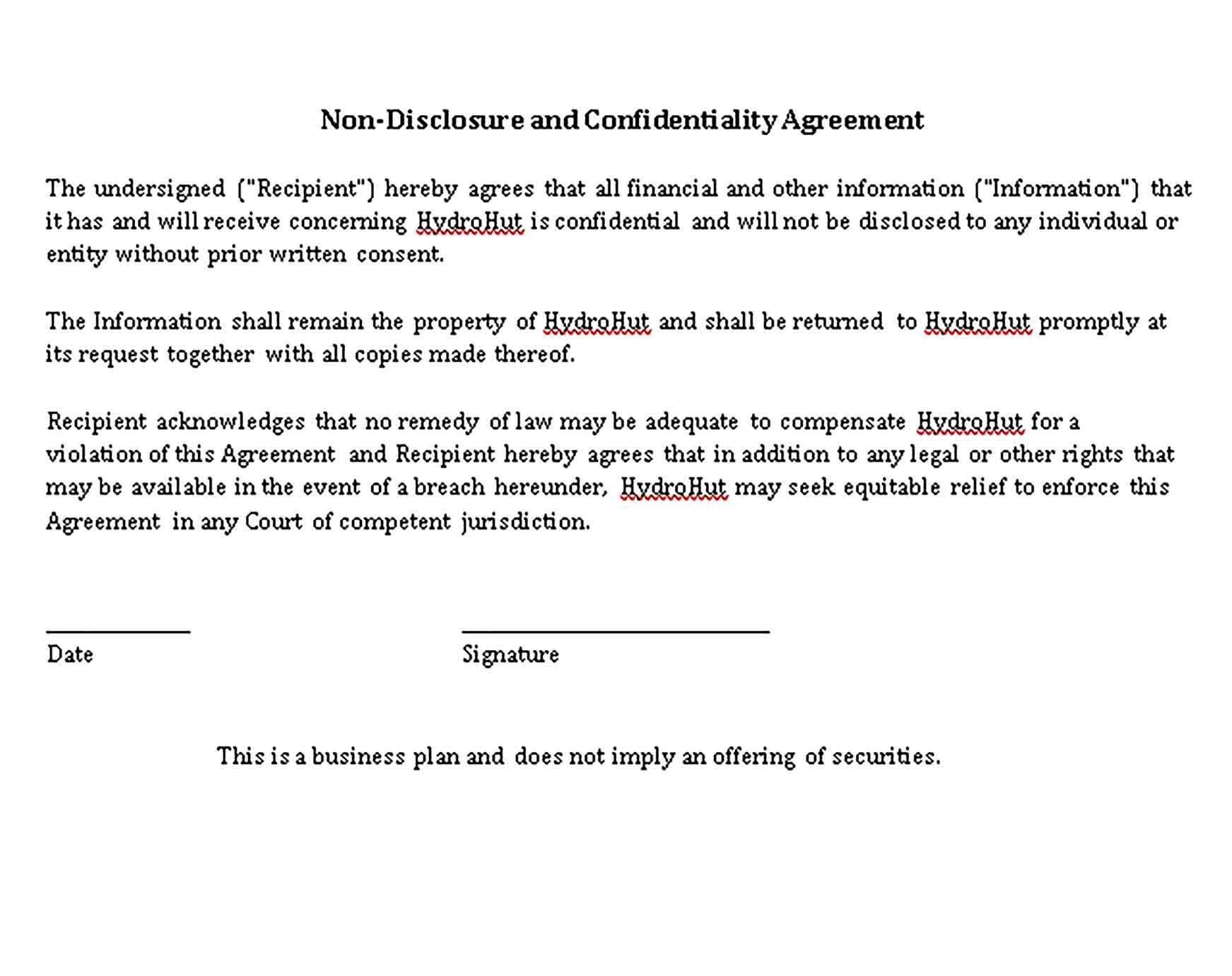 Sample Restaurant Non Disclosure Agreement Template Non Disclosure Agreement Business Template Restaurant Business Plan Simple non disclosure agreement template