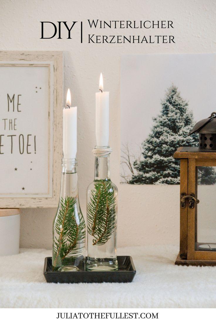 DIY winterlicher Kerzenhalter | DIY Deko Ideen für Weihnachten