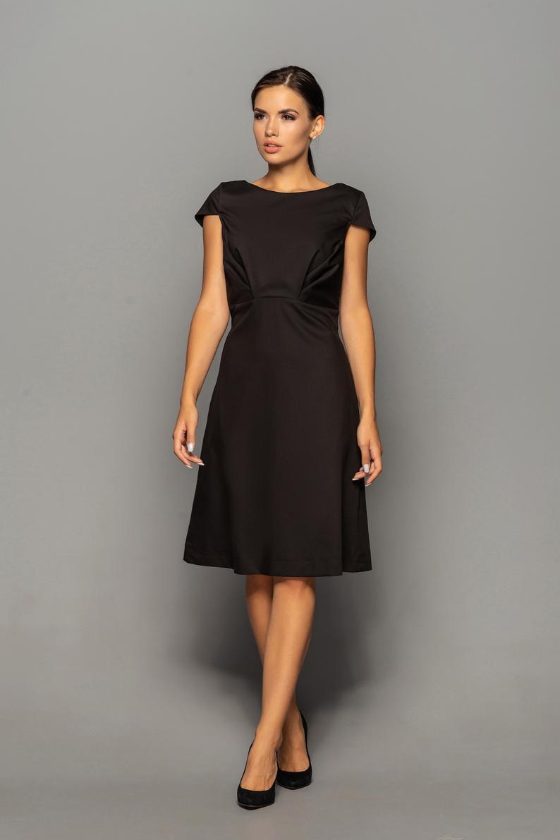 Little black Wedding guest dress, Empire waist Dresses for