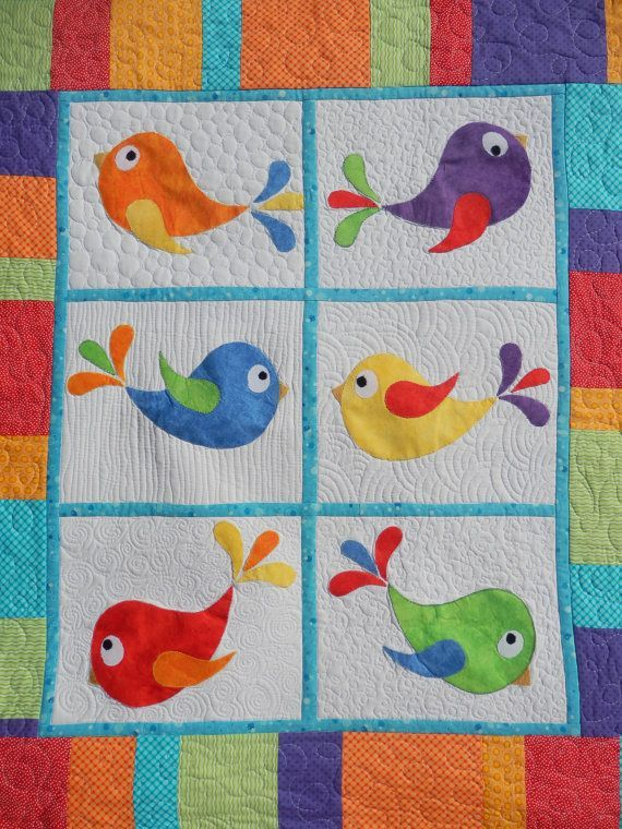 Bright baby or toddler bird applique and patchwork cot quilt