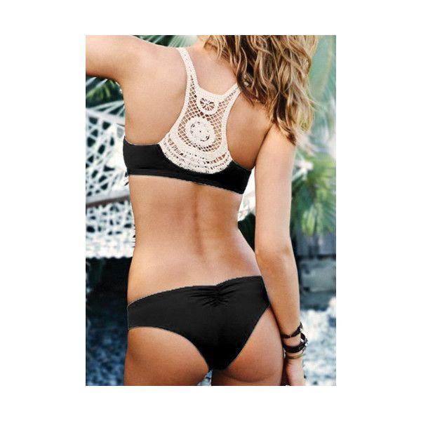 Sexy U Neck Sleeveless Hollow Out Women s Bikini Set ($16) ❤ liked on Polyvore featuring swimwear, bikinis, black, sexy bikini swimwear, sexy beachwear, sexy swimwear, sexy swim wear y sexy two piece