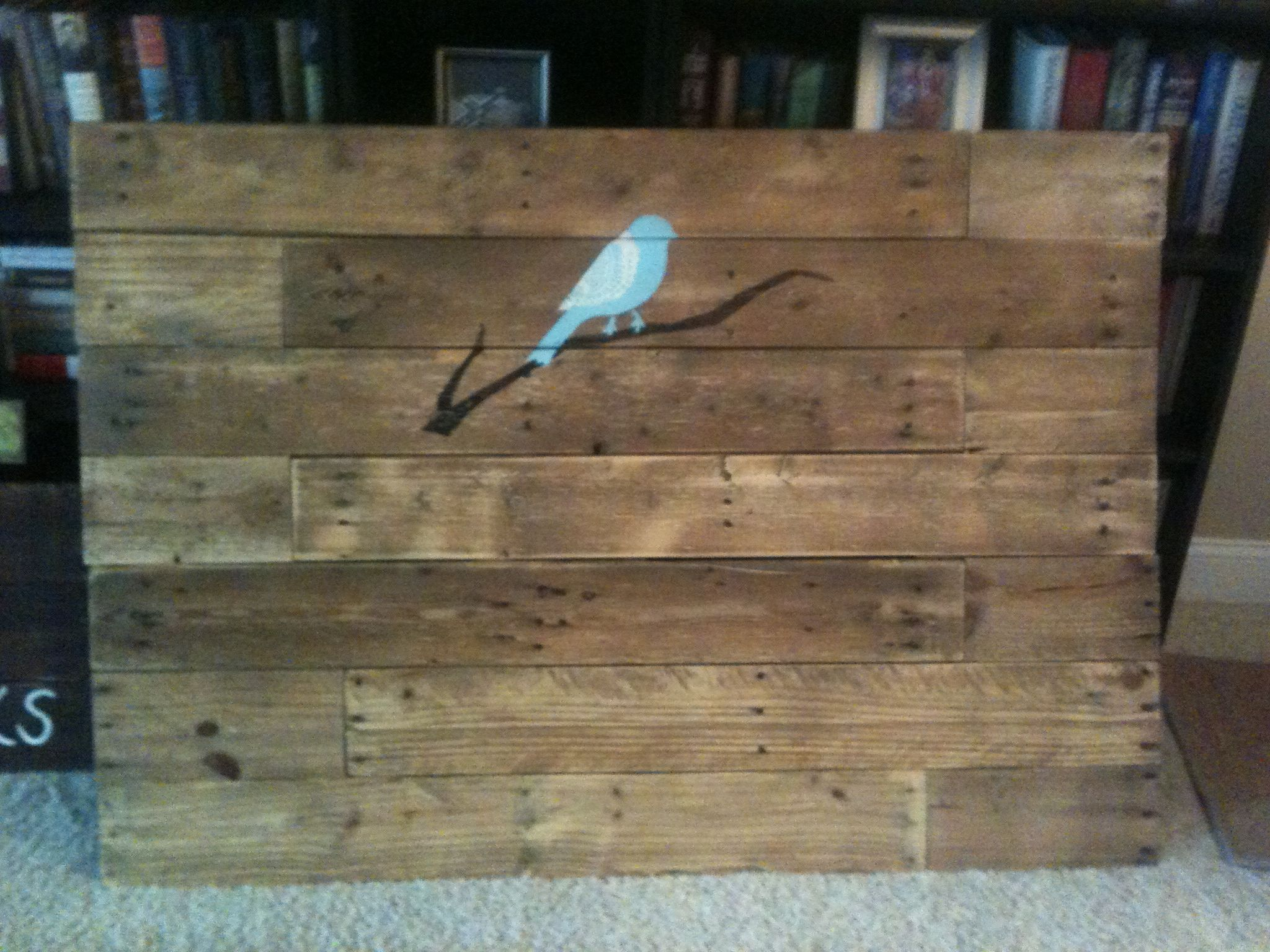 Pallet Headboard With Lace Winged Bird On Branch Pallet