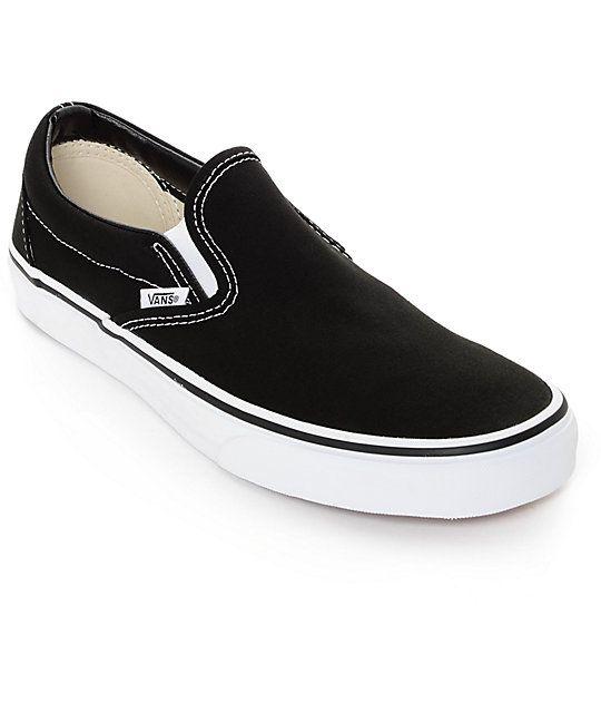Vans Classic Slip On Black & White Shoes | Shoes, Vans, Slip