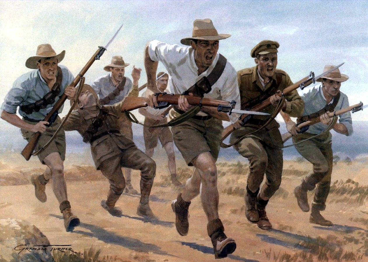 Carga a la bayoneta de los Anzac en Gallípoli - Graham Turner. Más en www.elgrancapitan.org/foro