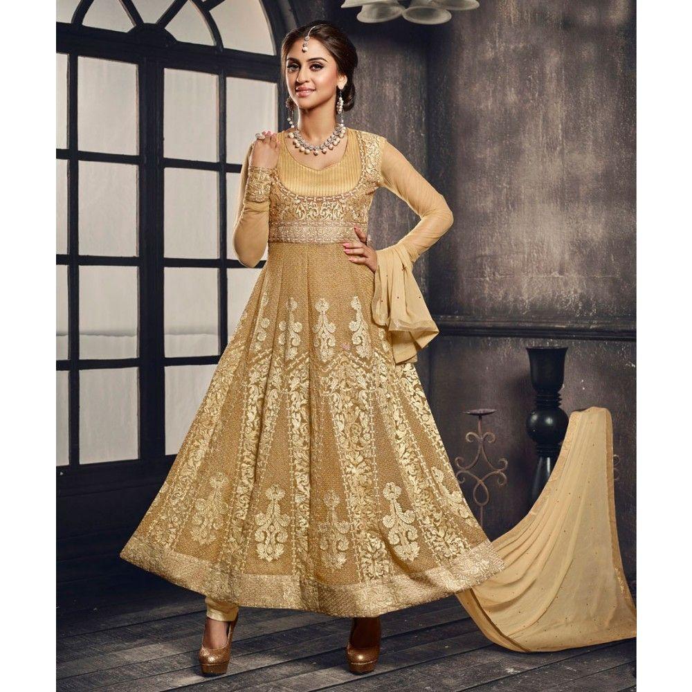 Beige Net Party Wear #Anarkali Suits With Dupatta- $43.58