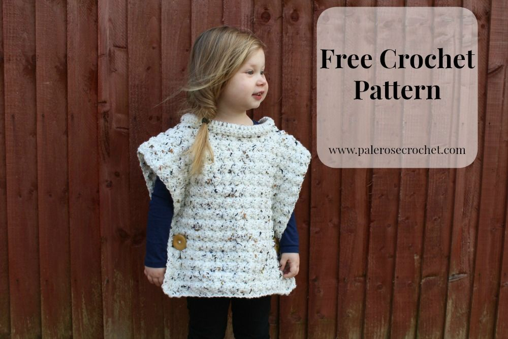 Pale Rose Crochet Toddler Flecked Pullover Pattern Ponchos
