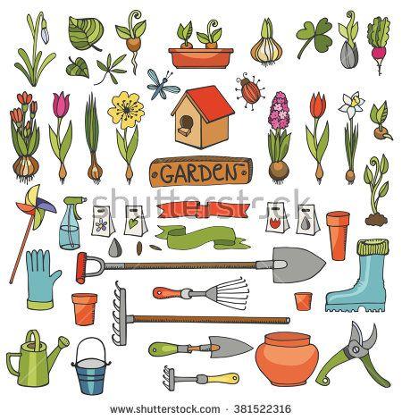 Spring garden set.Hand drawn flowers,bulb, garden tool,boarding equipment.Vector garden sketch elements.Spring Gardening isolated icon set,planting spring symbols,seedlings,vintage vector elements - stock vector
