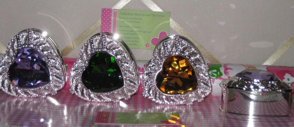 JUDITH RIPKA NEW Heart Shaped Jewelry Box Silver Saver Gemstone