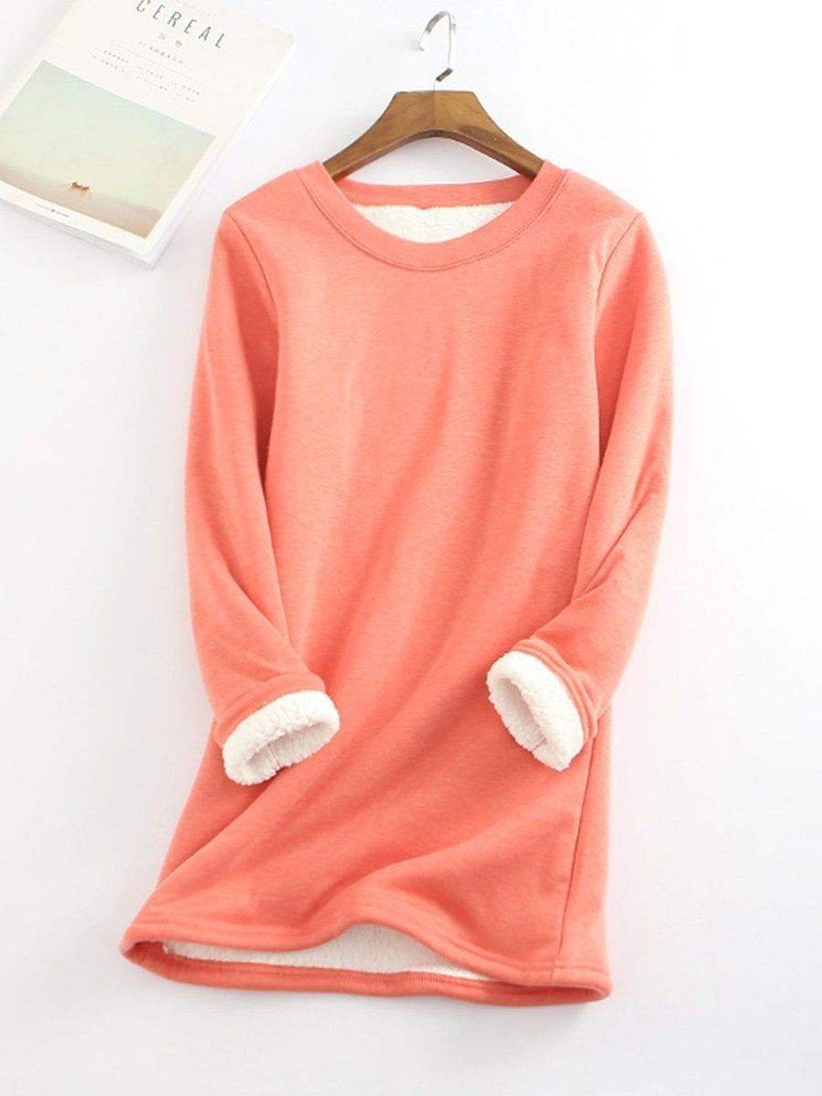 23bd50f9 Material:Cotton-blend Pattern Type:Solid Sleeve Type:Long Sleeve Style:Casual  Neckline:Round Neck Theme:Winter Waistlines:Natural Thickness:Mid-weight ...