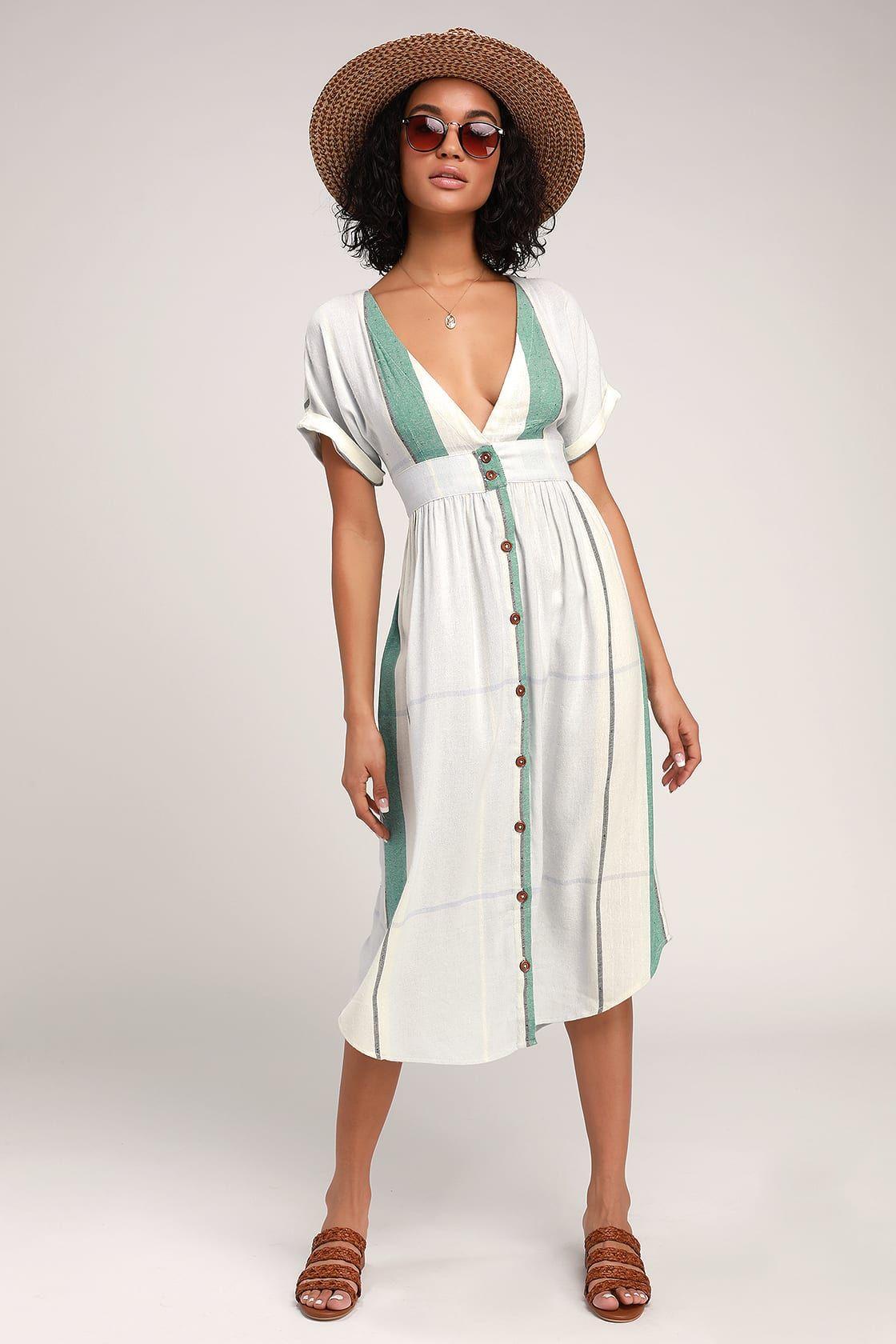 Reid Light Blue Multi Stripe Button Up Midi Dress Trending Dresses Casual Dresses Midi Dress [ 1680 x 1120 Pixel ]