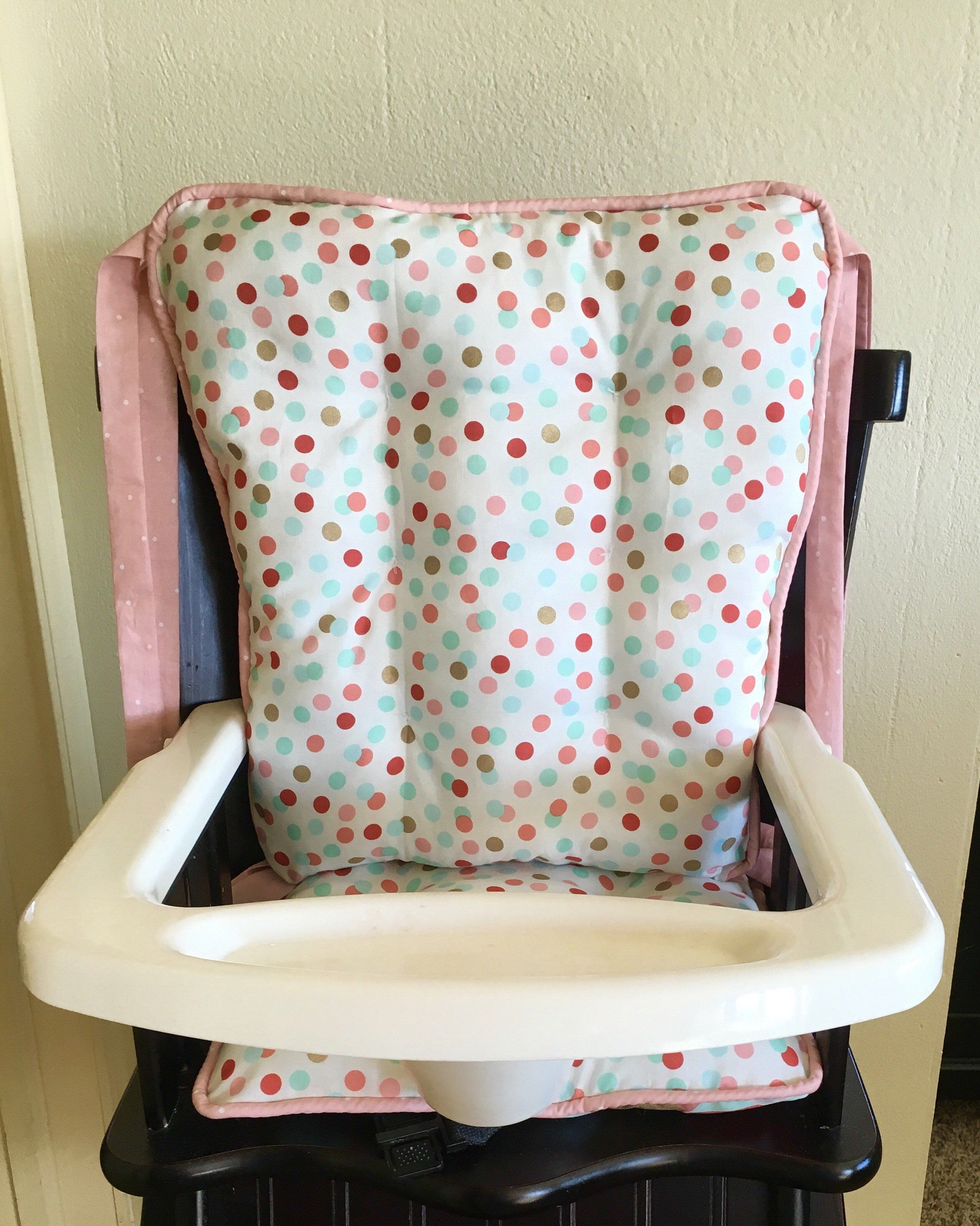Mint Coral and Gold Dot Highchair Cushions High Chair Pads