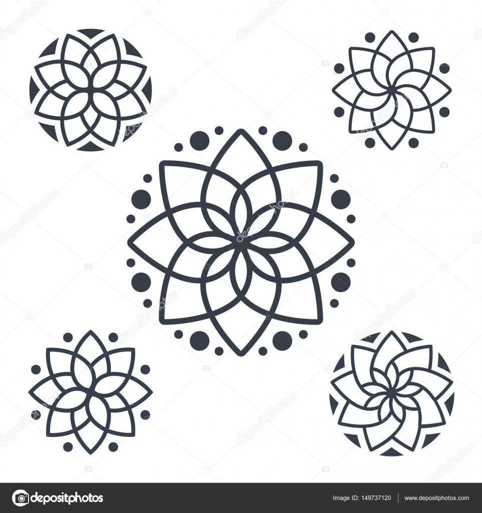 Simple geometric mandala logotype. Circular logo for