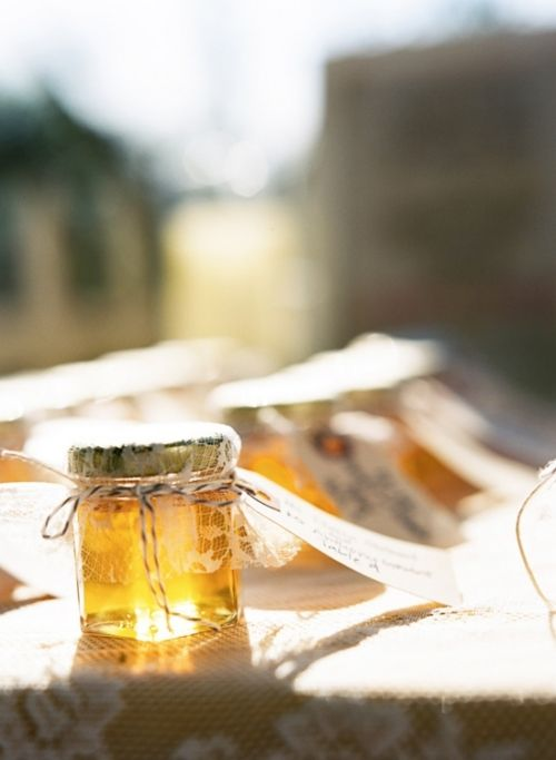 The lace adds such a nice touch to these tiny jars of honey