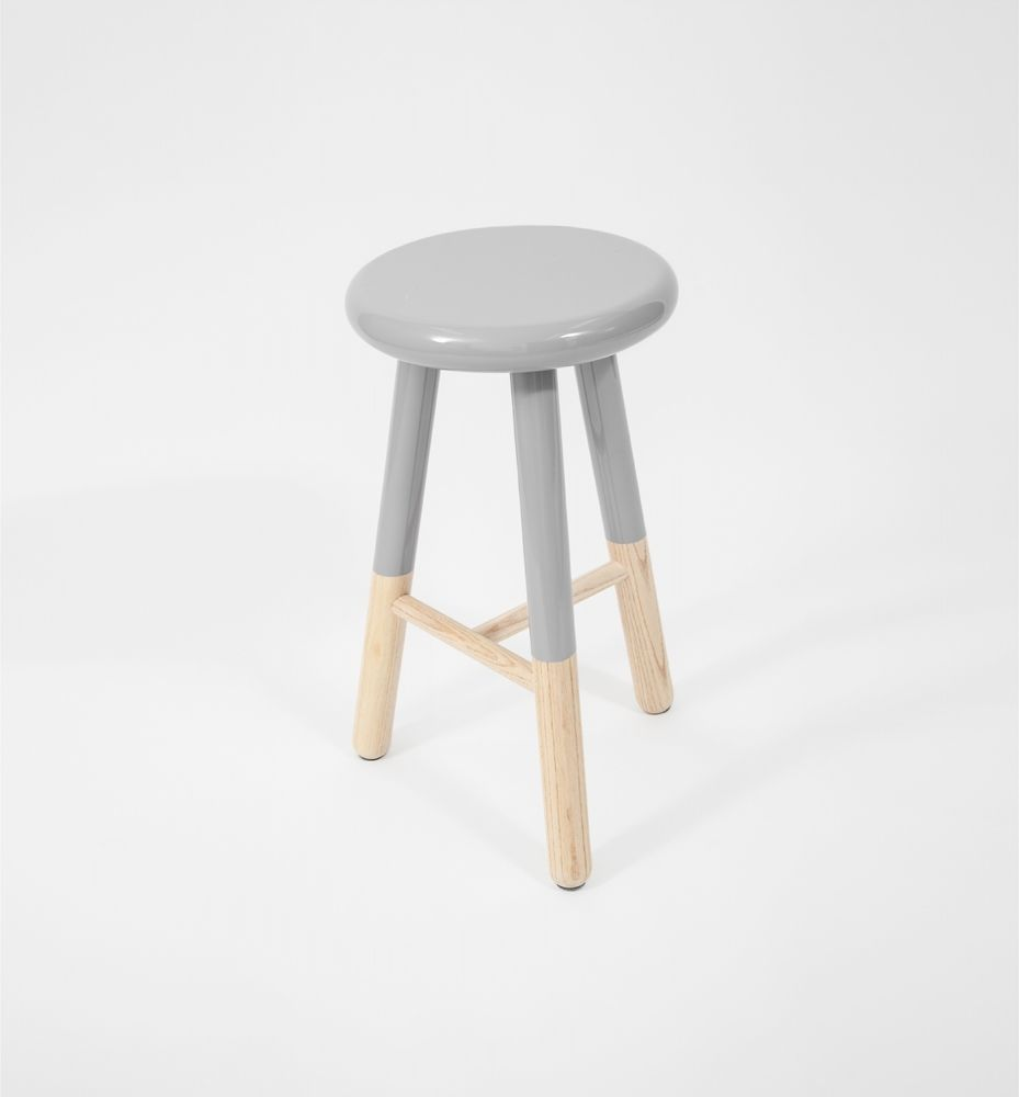 Kitchen Stools In South Africa: Tall Malmo Grey Coloured Wooden And Timber Bar Stool