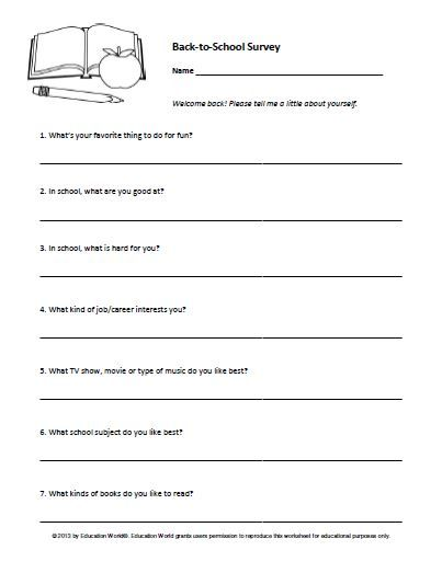 Education World Back-to-School Student Survey Substituting - health survey template