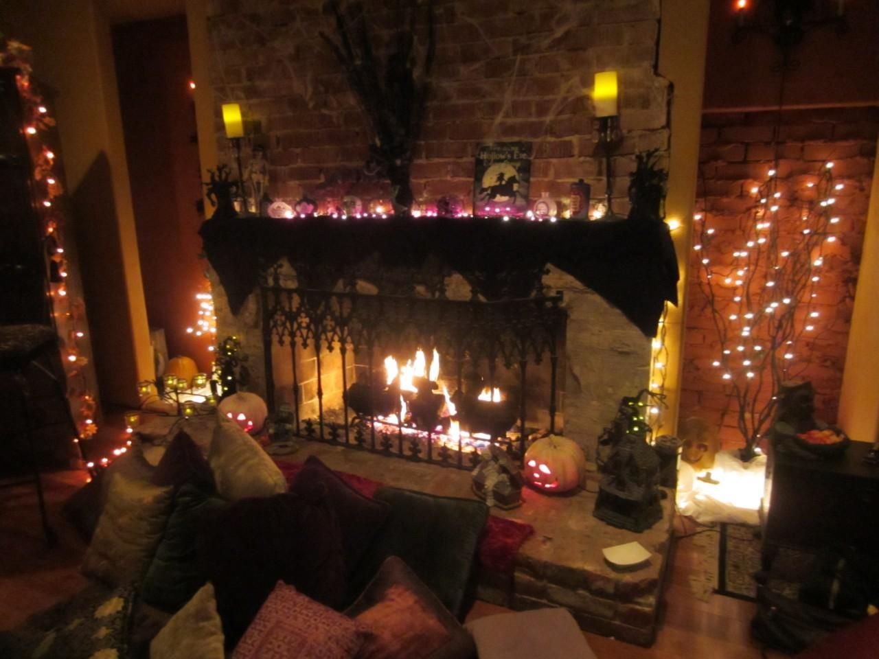 Decoration Ideas Fashionable Spooktacular Halloween Decorations With Fancy Fireplace Your Beautiful Living Room Fascinating Deco