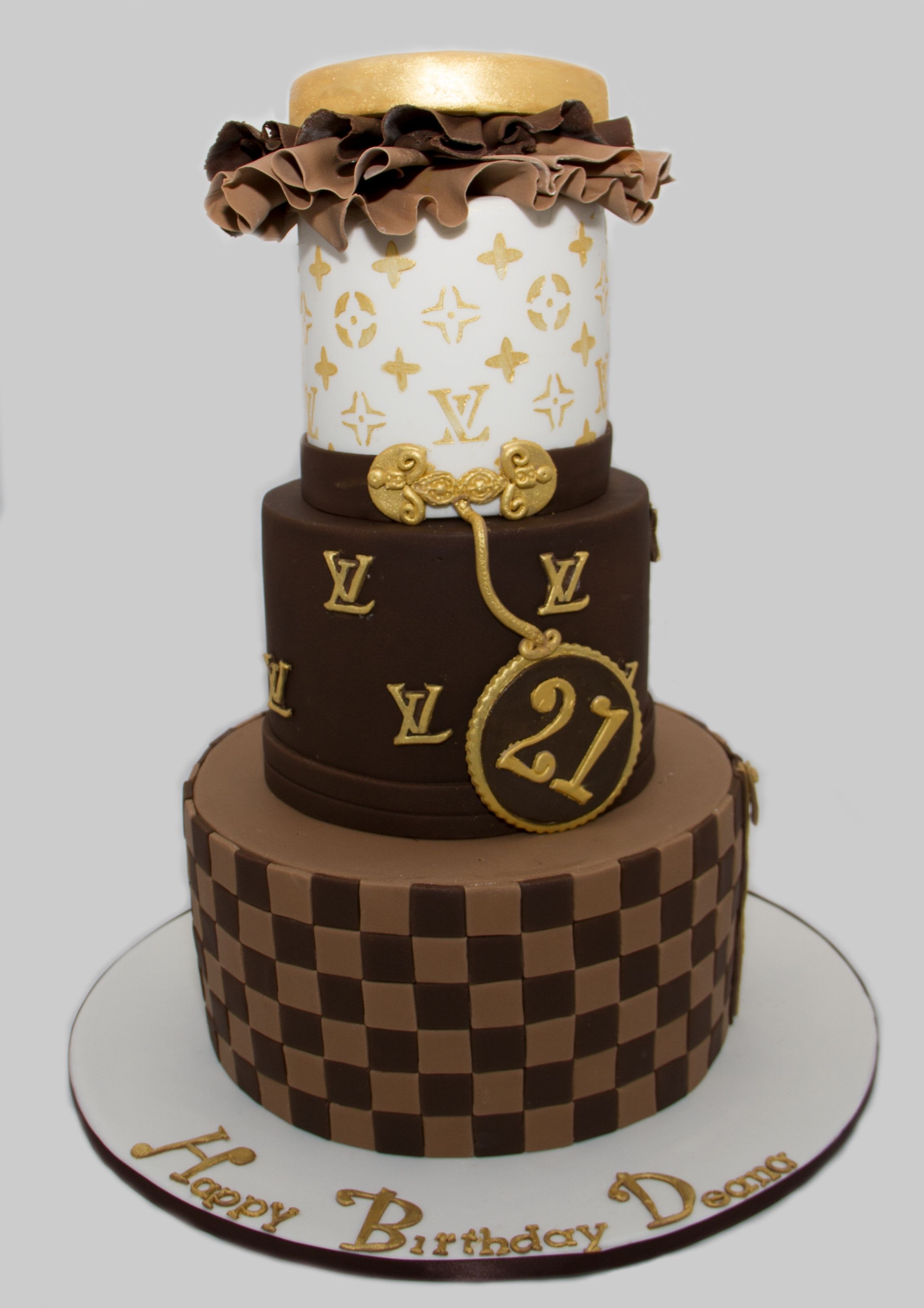3 teir Louis Vuitton chocolate mud 21st birthday cake