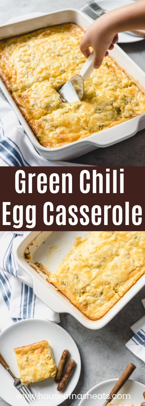 Green Chili Egg Casserole is an easy overnight breakfast casserole that is perfect for Christmas morning or any brunch occasion all year long