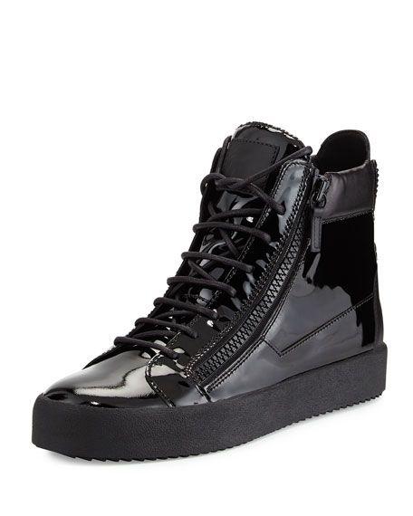 38005f2be68d7 GIUSEPPE ZANOTTI Men'S Patent Leather High-Top Sneaker, Black, Space. # giuseppezanotti #shoes #