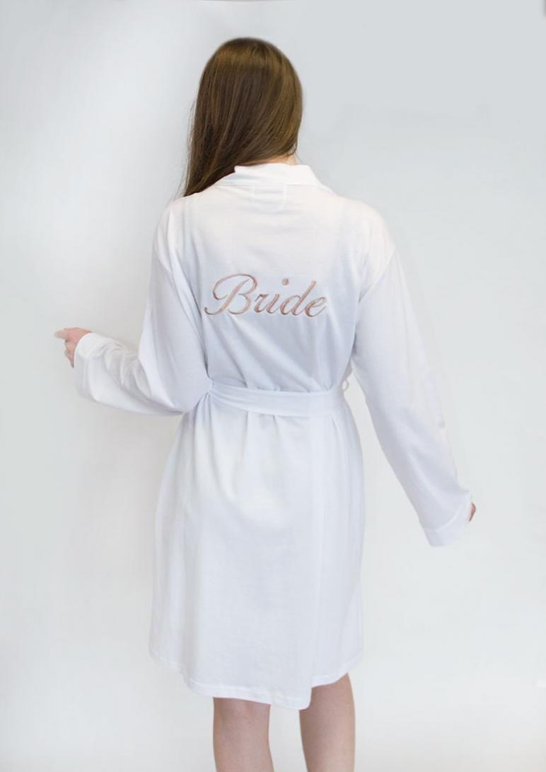 Personalised White Bride Dressing Gown with Rose Gold Embroidery ...