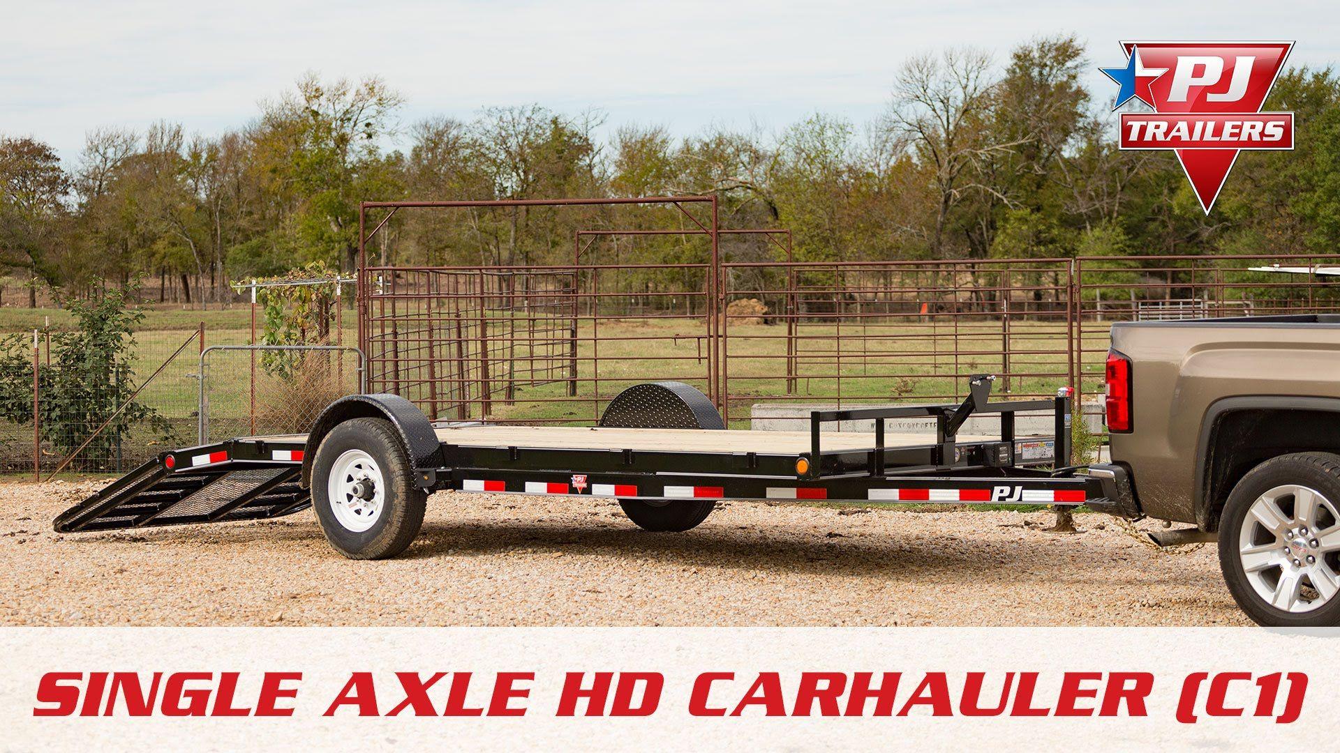 C1 Single Axle Hd Car Hauler Walk Around Pj Trailers Pj Trailers Axle Equipment Trailers