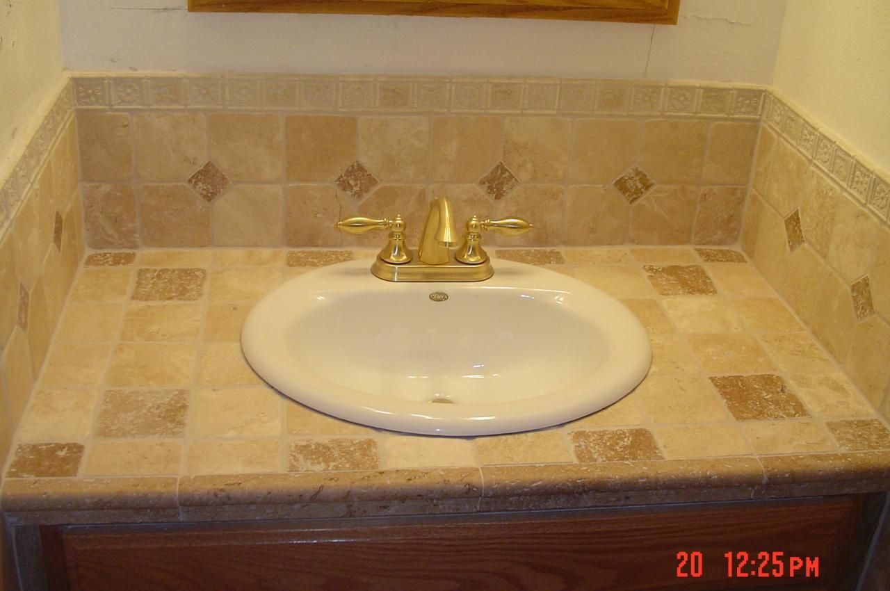 If You Have An Old Or Beat Up Laminate Vanity Top You Can Tile Over It In An Afternoon Jus Bathroom Countertops Diy Unique Bathroom Tiles Bathroom Countertops