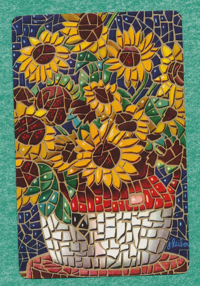 flowers mosaic playing card single swap king of clubs 1