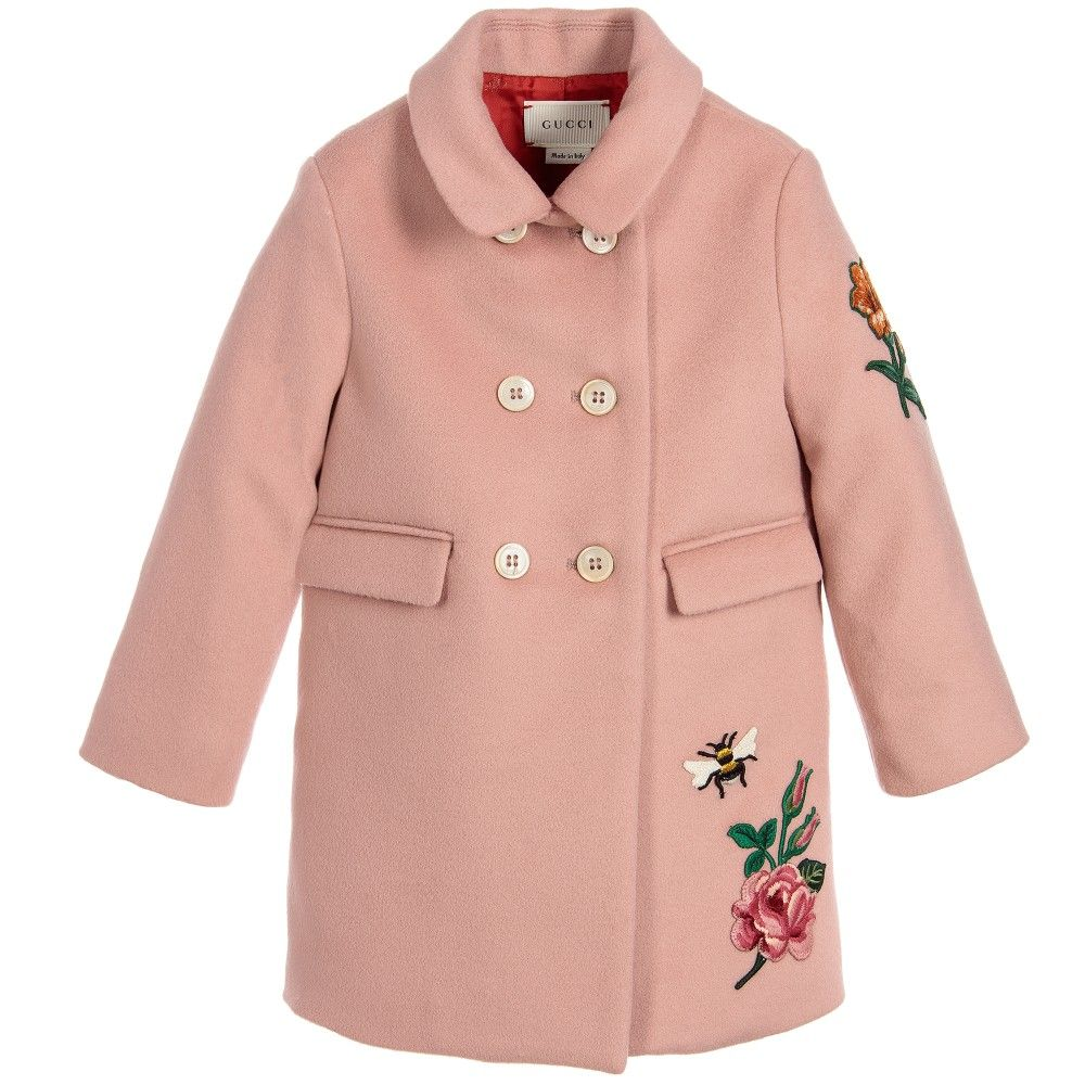 07cf4c611 Baby girls luxurious, Gucci, rose pink, wool and cashmere felt coat, with