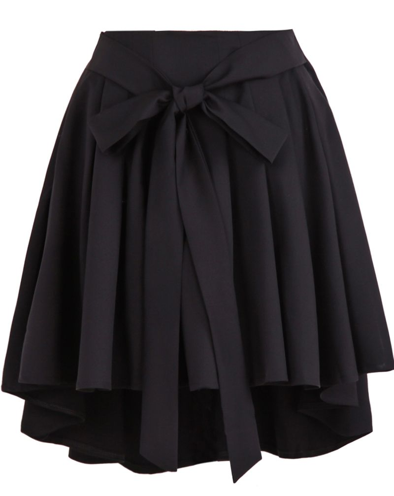 Black High Waist Belt Pleated Skirt ,Highly recommended ...
