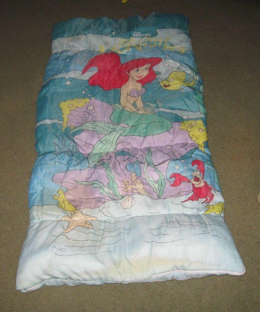 Kids Girls Little Mermaid Sleeping Bag Vintage Disney Zippered Sleep Ended