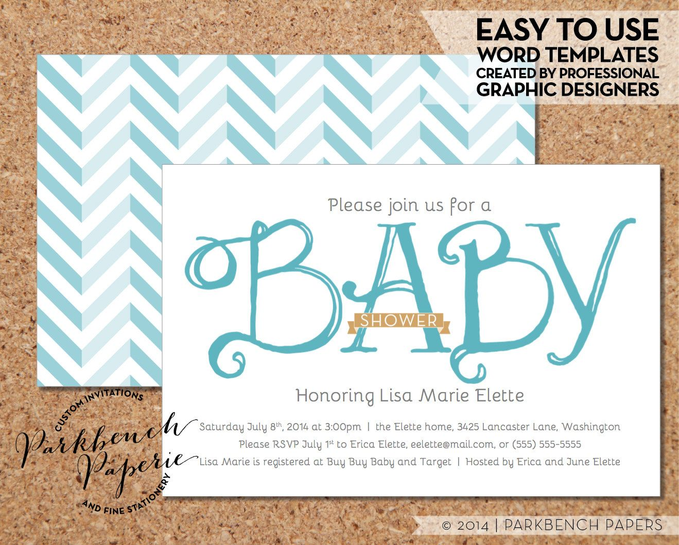 Baby Shower Invitations For Word Templates Enchanting Baby Shower Invitation  Blue Ribbon  Diy Editable Word Template .