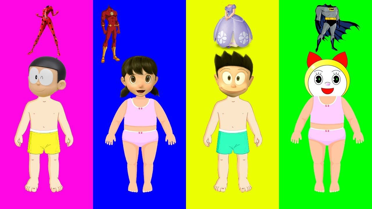Baby Learn Colors Wrong Dress Disney Princess Shizuka Nobita Suneo ...