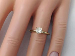 0.43ct Genuine Untreated Diamond Solitaire Engagement Ring Solid 14K Yellow Gold | eBay