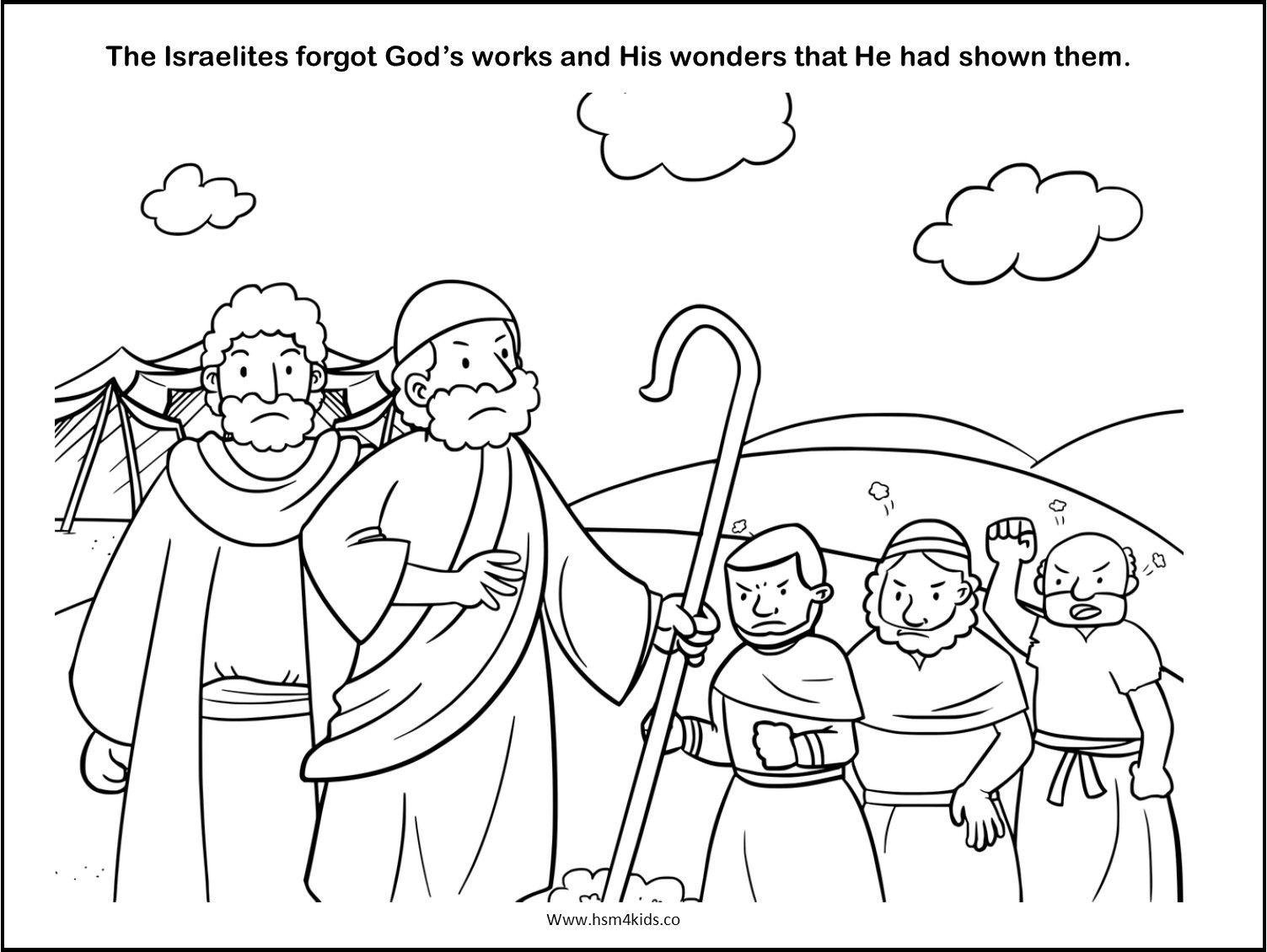Free Bible coloring worksheet. The Israelites complain, don ...