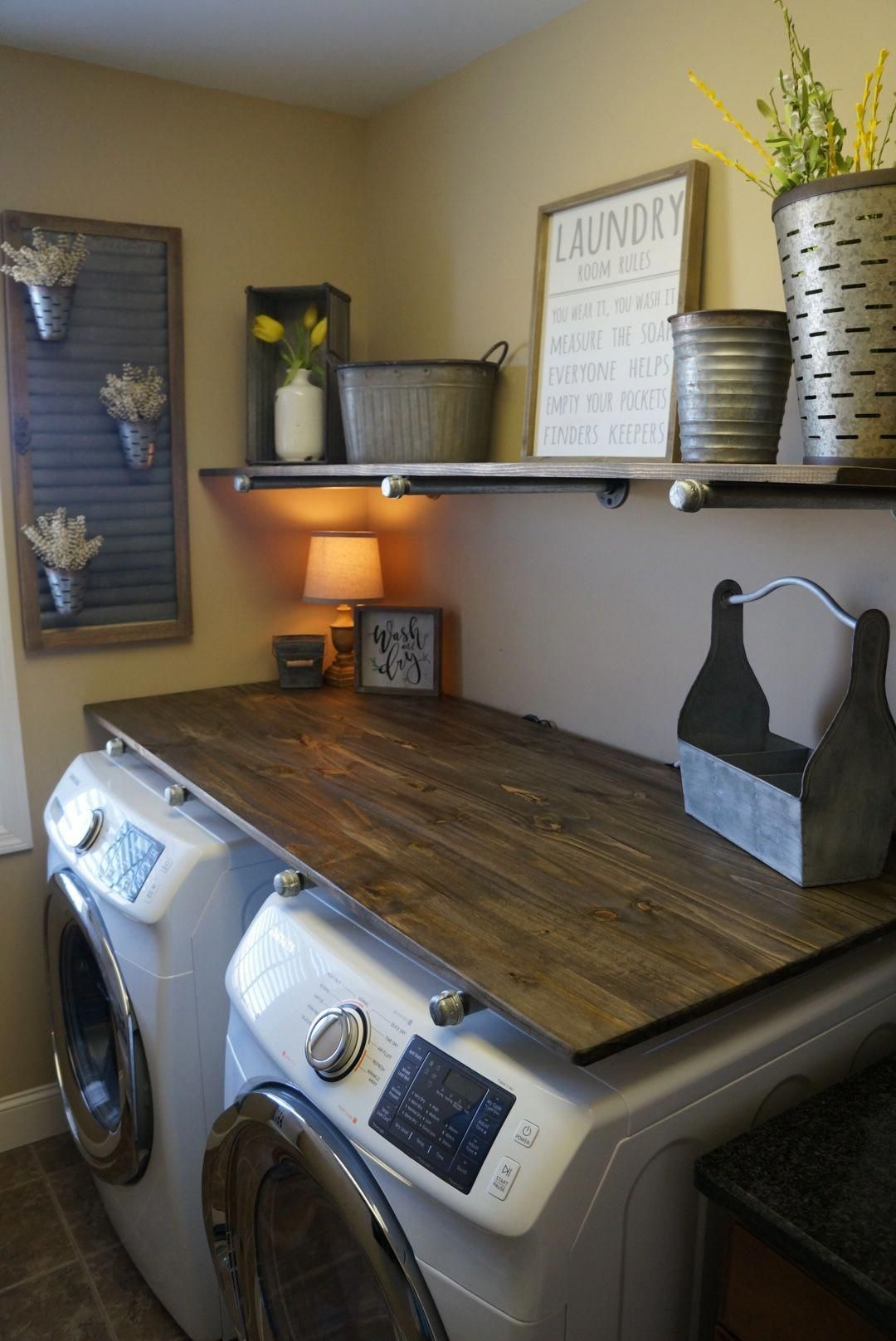 Photo of Laundry Room Makevover for under $250! With DIY Rustic Industrial Pipe Shelving and farmhouse decor!