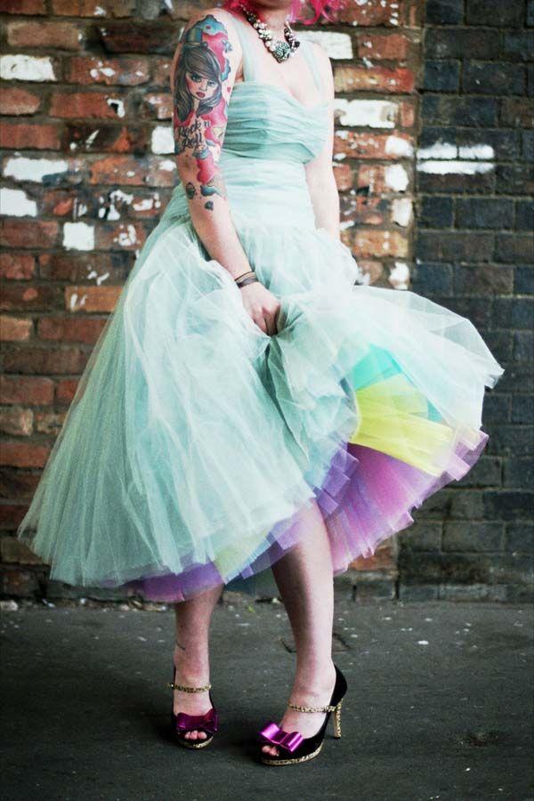 Rock N Roll Bride Tulle Dress Short Quirky Dress Tulle Skirt Dress