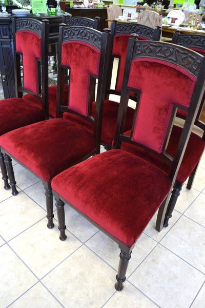 Set 6 Edwardian Antique Solid Carved Mahogany Upholstered Dining Kitchen Chairs Quality First Chairs