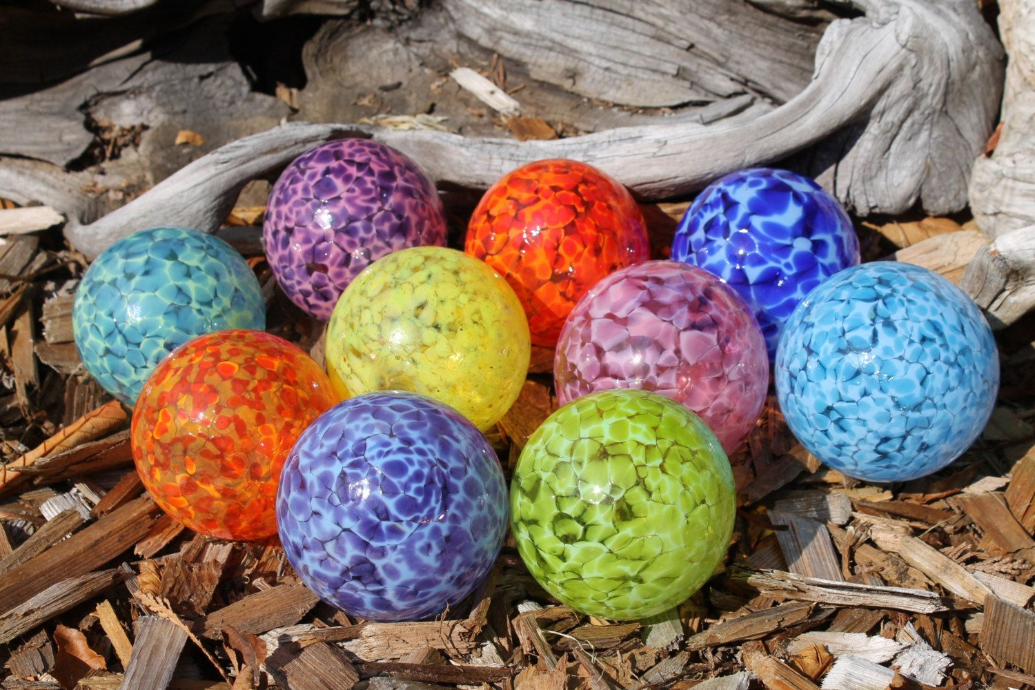 Set Of 10 Small Colorful Hand Blown Glass Floats Garden Balls Gazing Glass Orbs In Shades Of The Rainbow Outdoor Art Glass Floats Hand Blown Hand Blown Glass